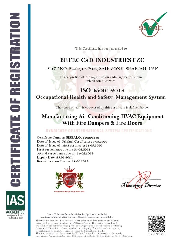 OSHAS Certificate